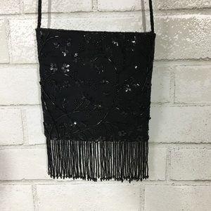 Handbags - Black Embellished Evening Bag X0143